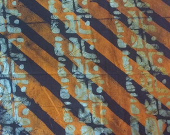 Orange African Batik Fabric, Ghanaian Cotton, Preshrunk, Hand-dyed, 22 inches, REDUCED TO CLEAR