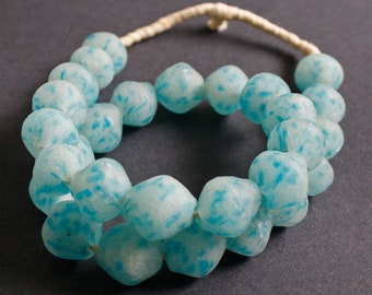 Milky Blue African Beads, Ghana Recycled Glass Large Bright Speckled Blue Bi-cones,  20-25 mm, Pack of 6