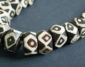 10 African Bone Beads Kenyan, Multifaceted 25 mm Approx Handmade Ethnic Batiked Beads