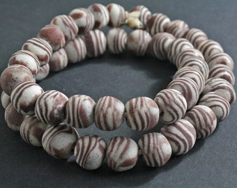 10 Large African Beads, Ghana Krobo Ethnic Recycled Powder Glass, 17-18 mm Round, Brown & White, Handmade, for Jewelry and Crafts