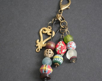 African Bag Charm,Adinkra  Handmade Krobo Ghana Beads and Ashanti Brass Beads, Small Gift for Her