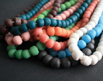 15 African Beads, Large Krobo Recycled Glass, Speckled, 13-15 mm Round,  Handmade Ethnic Beads