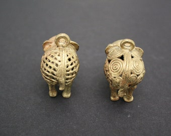 2 African Brass Pendants, Elephant, Handmade Ethnic Lost Wax Craft, 39mm