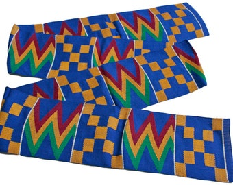 Blue Kente Cloth Strip from Ghana, Authentic Handwoven Strip, Cotton, for Sewing or Graduation Stole, Gift Idea
