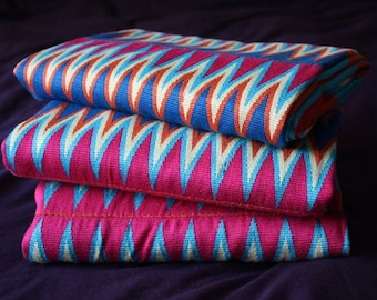 Kente Fabric, Authentic Handwoven Traditional Ghana Festive Cloth, Pink/Cream?Blue, Strikingly Beautiful, Choose from 3 Sizes