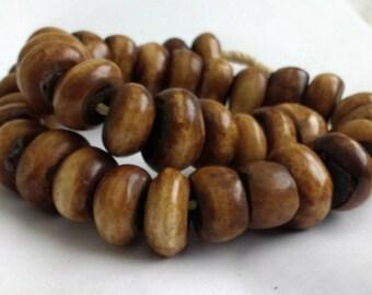 Pack of 10 African Bone Beads Kenyan, Handmade, 22 -25 mm, Rich Golden Brown & Beige