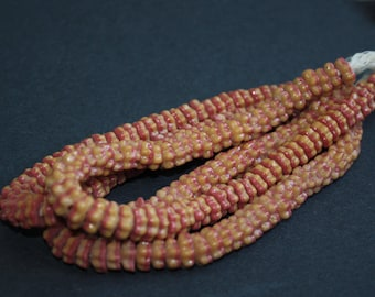 African Daisy Beads, Krobo Recycled Glass Daisy Disc Spacers, 2 -Layer Mustard & Red, approx 9 x 3 mm, 76 Beads
