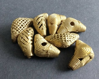 African Brass Beads,  Ashanti Ghana Lost Wax, Handmade Elbow-Shaped for Jewelry, Jewellery and Crafts, 25-31 mm, 4 Design Options