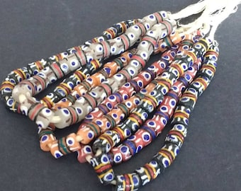 19 small African Beads, Krobo Ghana Recycled Glass, Hand-made Tubes, 11-13 mm, One Strand, 4 Colour Options Black/Red/Peach/White