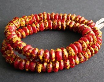20 African Disc/doughnut Beads, Refashioned Glass  13-15 mm Chunky Spacers , Handmade in Ghana's Krobo,  Red/Yellow/Black