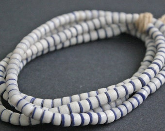 50 2-Layer African Beads, Ghana, Krobo Recycled Glass  4-7 mm Spacers, Handmade White/ Blue for Jewelry and Crafts,