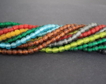 Small African Beads, Ghana Krobo Recycled Glass, Handmade Round 7mm approx, Jewelry and Crafts, 8 Colour Options, Long Strand Or 30-pack
