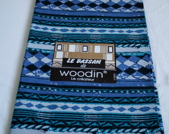 Blue Woodin African Fabric, Authentic Ghana Cotton Print, For Sewing, Crafts, Quilts, Head Wraps and More, By the yard