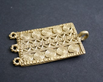 Large African Tribal Brass Pendant/Charm Handmade Ashanti Ghana, for Statement Pieces, Rectangular, Gorgeous!