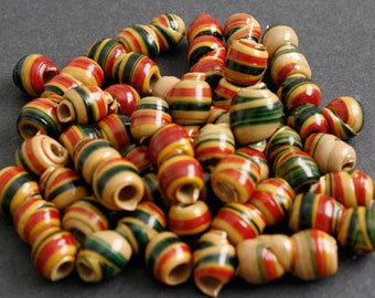15 African Beads Recycled Plastic, 12-14 mm, Brown Red mix