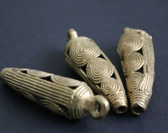 Brass Beads Large African Metal  Handmade Ashanti Ghana Lost Wax for Jewelry/Jewellery and Crafts, Cayenne Pepper-Shaped, Stunning!