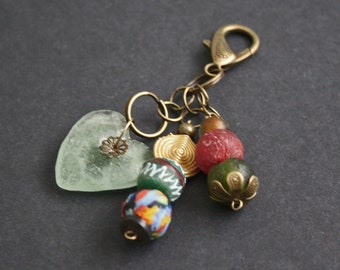 African Bag Charm, Handmade with Recycled Glass, Refashioned Glass and Brass Beads, Small Gift for Her