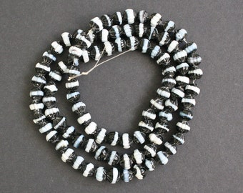 48 Small Bi-cone Glass Beads, Black and White/Palest Blue