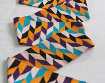 Strikiing Ghana Kente Cloth Strip, Authentic Handwoven African Fabric, graduation Stole, Gift Idea. Purple/White/Turquoise/Black/Orange SALE