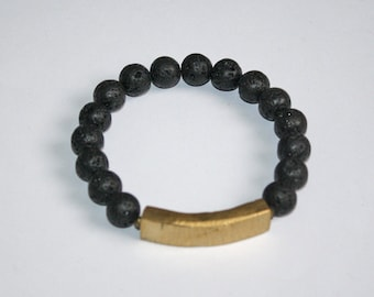 Natural Lava Braclet with African Brass Bar, Stretchy, 7.5 inches, Unisex