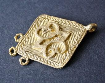 African Brass Metal Pendant, Handmade, Unusual and Differen, Adinkra* Design, Symbol of Endurance.