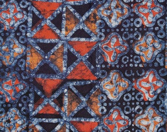African Fabric by the Yard, Authentic Ethnic Ghana Cotton Print, Orange/ White/Navy for Sewing, Quilts, Head Wraps and More