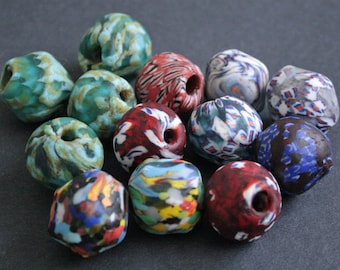 African Bi-cone African Beads,  Ghana Krobo Refashioned Glass, Handmade Ethnic Craft, 24 to 26 mm,