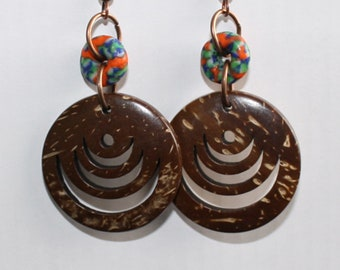 African Jewelry Jewellery, Coconut Shell Drop Earrings with  Refashioned Glass Beads, Small Gift Idea