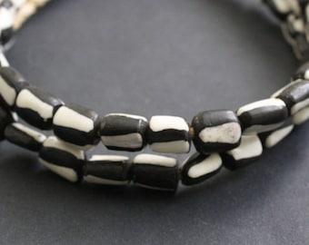 16 Small African Bone Beads Ethnic Kenyan Batiked Craft, 10-12 mm, Handmade
