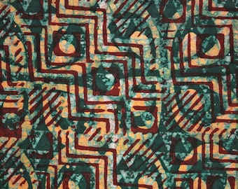 African Batik Fabric, Cotton Hand-Printed  & Dyed, Preshrunk, for  Sewing, Qulting, Crafting, Green and Maroon, Half Yard