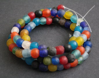 50 Round African Beads, Handmade Recycled Glass from Krobo in Ghana, 9-11 mm Multi-Colours, Full Strand