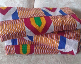 Ghana Kente Fabric, Wedding and Occasion Wear, Cotton, Red White Blue, 2 Size Options