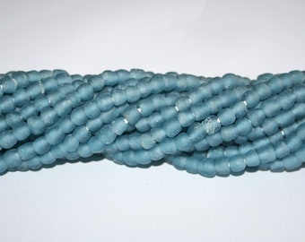 30 Blue African Beads, Ghana Recycled Glass, Handmade  Krobo Ethnic beads for Jewelry and Crafts , Soft Blue, 7 mm approx
