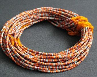 3 mm African Vinyl Beads, Vulcanite Heishi Discs, Orange, Maroon, Pale Blue and White Mix, 37 inch Long strand