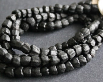 African Beads, Balck Ghana Recycled Glass, Flower, 7-8 mm, Handmade Ethnic Craft, Opaque, Full strand/30-Pack for Jewelry and Crafts