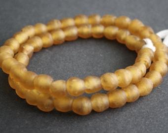 55 African Glass Beads, Ghana Krobo Ethnic Recycled Glass, Gold , 8-9mm, Handmade Ethnic Craft, 1 Full Strand