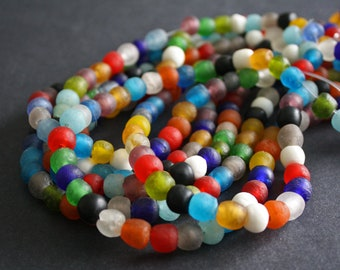 African Beads, Ghana Recycled Glass Ethnic Krobo Craft, Handmade Round,  8-10/9-11mm for Jewelry and Crafts, 1 Full Strand/Pack of 25