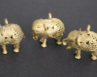3 African Brass Pendants, Elephant, Handmade Ethnic Lost Wax Craft, 37mm