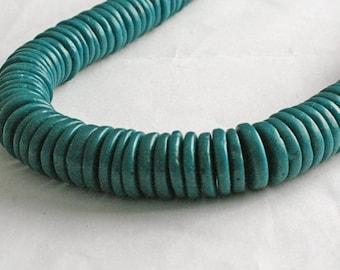 African Disc Beads, Ethnic Ghana Krobo Recycled Glass 17 mm Spacers, Teal, pack of 25