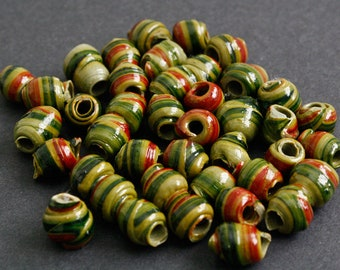 15 African Beads Recycled Plastic, Spiral Round, Novelty, Bright Red Mix 12-14 mm