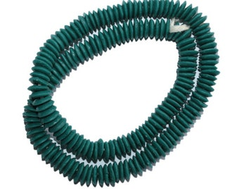 50 Teal African Beads, Recycled Glass Ghana Krobo Doughnut-Shaped, Handmade 10 mm Discs  for Jewelry and Crafts