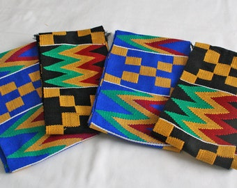 Kente Fabric Strip Ghana Cotton Cloth, Authentic Handwoven Piece, Graduation Stole, Gift Idea, Blue/Black, for Sewing, Upholstery, Crafts