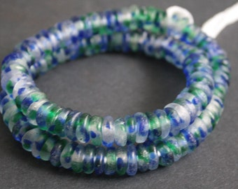 African Disc Beads, Recycled Glass Spacers, 10-12 mm Mottled Blue/Green Clear, Handmade  for jewelry and Crafts, Delightful!