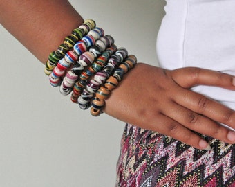 Beaded African Bracelet, Ghana  Recycled Plastic Beads, Choice of Colours