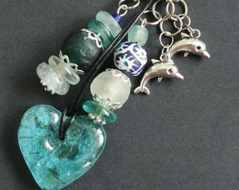 Bag Charm or Key Ring African, Recycled Glass Beads,Aqua/Green/Blue/Clear with Dolphin Charms, Beautiful, Great Small Gift