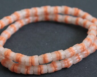 2-Layer African Beads, Ghana Ethnic Krobo Recycled Glass, 6mm, Handmade for Jewelry and Crafts, Dusky Pink/Beige