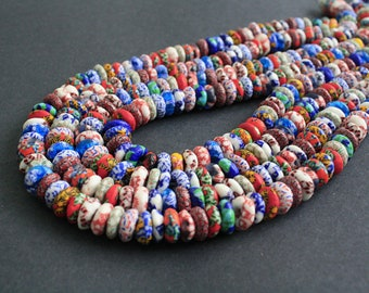90 African Beads, Handmade Refashioned Glass Krobo Ghana 13-14 mm Chunky Donut/Disc Spacers Multi-coloured, Full strand, 4 Options