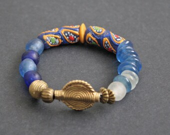 Stretchy African Beaded Bracelet, Ghana Recycled Glass Beads and Brass Beads, Blue/Gold/White, Great Gift Idea