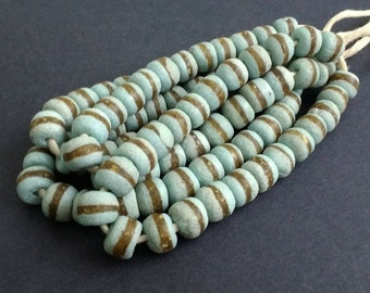 22 Duck Egg African Beads, Handmade Recycled Glass from Ghana's Krobo, 12-13, 1 Strand for Jewelry and Crafts