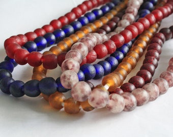15 African Beads, Ghana Krobo Recycled Glass, 13-14mm Round for Jewelry and Crafts, Handmade Ethnic Craft. Red/Blue/Golden/Red Grape